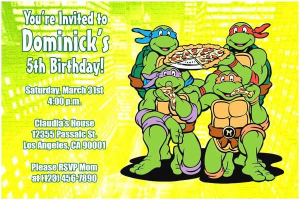 image about Ninja Turtles Invitations Printable known as Ninja Turtle Birthday Invites Teenage Mutant Ninja