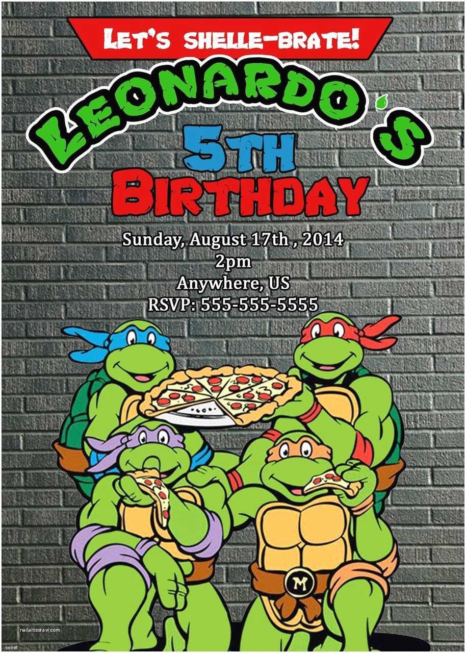 Ninja Turtle Birthday Invitations Tmnt Teenage Mutant Ninja Turtles Movie Birthday