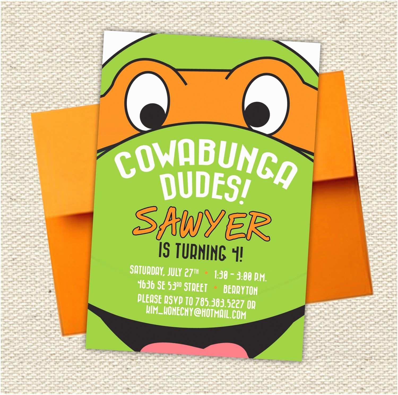 Ninja Turtle  Invitations Cowabunga Dudes Teenage Mutant Ninja Turtle Birthday