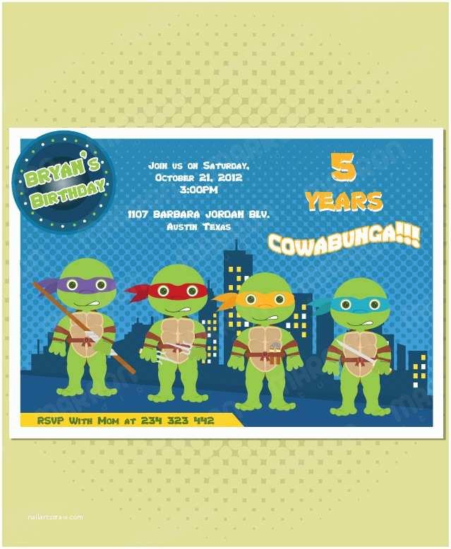 Ninja Turtle Party Invitations Marron