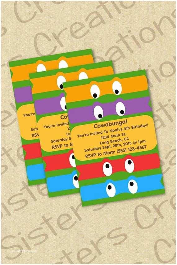 Ninja Turtle Party Invitations Ninja Turtle Invitation
