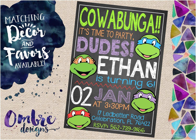 Ninja Turtle Party Invitations Ninja Turtle Invitation Ninja Turtles Party Ninja