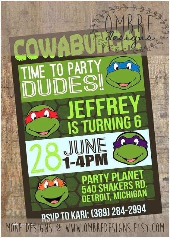 Ninja Turtle Party Invitations Ninja Turtle Invitation Tmnt Invite Ninja Turtle Party
