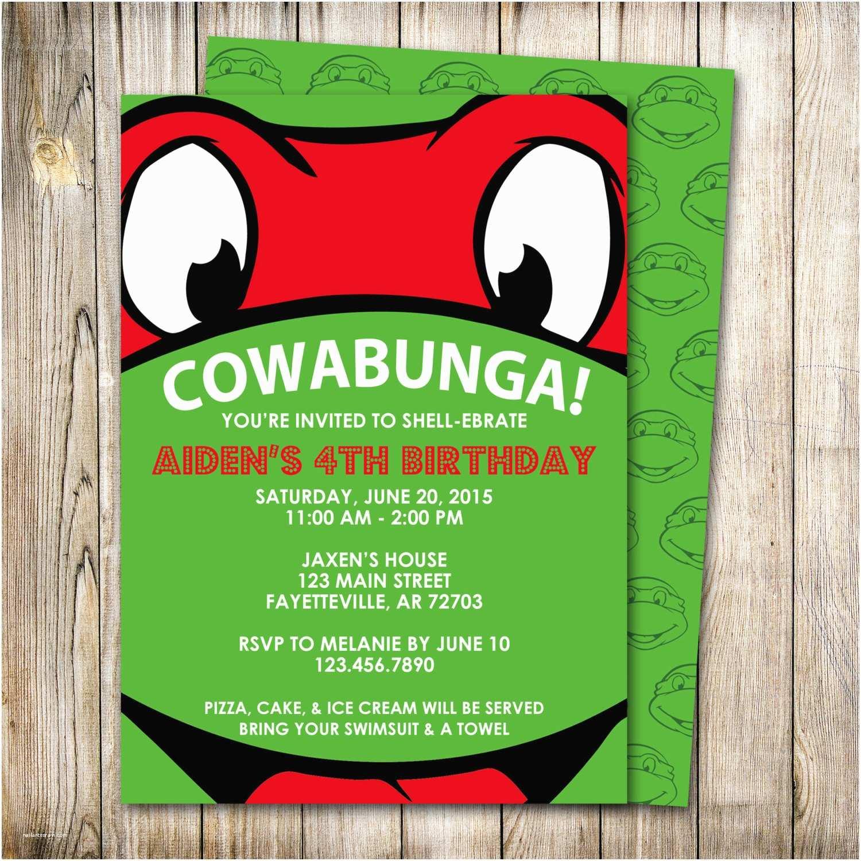 Ninja Turtle Party Invitations Ninja Turtles Birthday Invitation Raphael Invitation