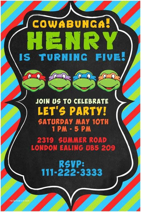 Ninja Turtle Party Invitations Pinterest • The World's Catalog Of
