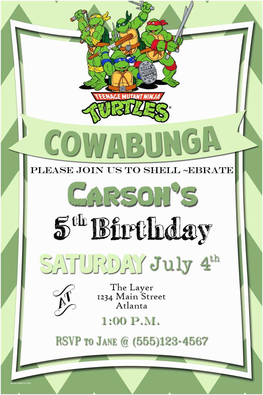Ninja Turtle Party Invitations Teenage Mutant Ninja Turtles Birthday By