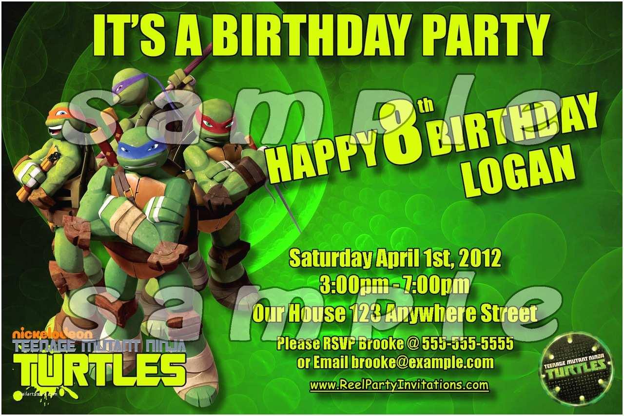 Ninja Turtle Party Invitations Teenage Mutant Ninja Turtles Birthday Invitation