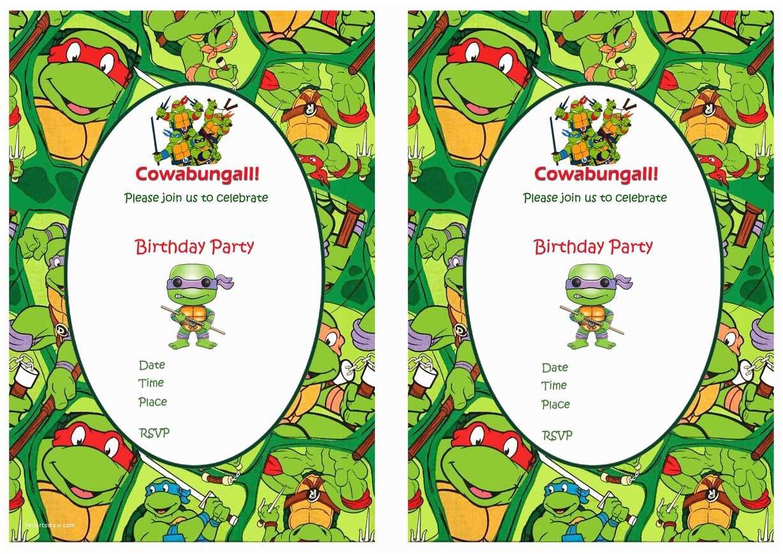 Ninja Turtle Party Invitations Teenage Mutant Ninja Turtles Birthday Invitations