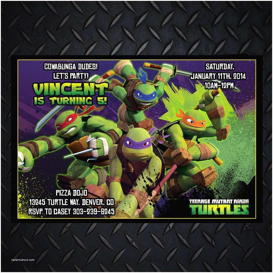 Ninja Turtle Party Invitations Teenage Mutant Ninja Turtles Invitations Tmnt