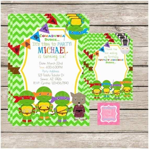 Ninja Turtle Party Invitations the Ninja Turtle Invitations Thank You S Printables Custom