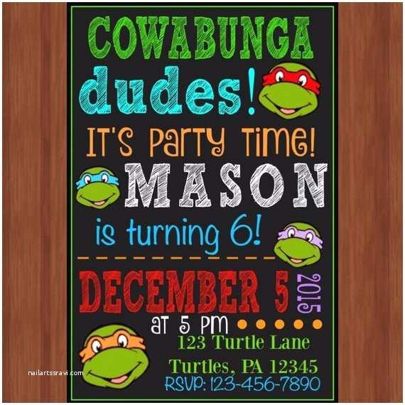 Ninja Turtles Birthday Invitations Ninja Turtle Birthday Party Invitation Ninja Turtles