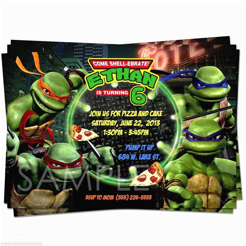 Ninja Turtles Birthday Invitations Ninja Turtles Invitations Template