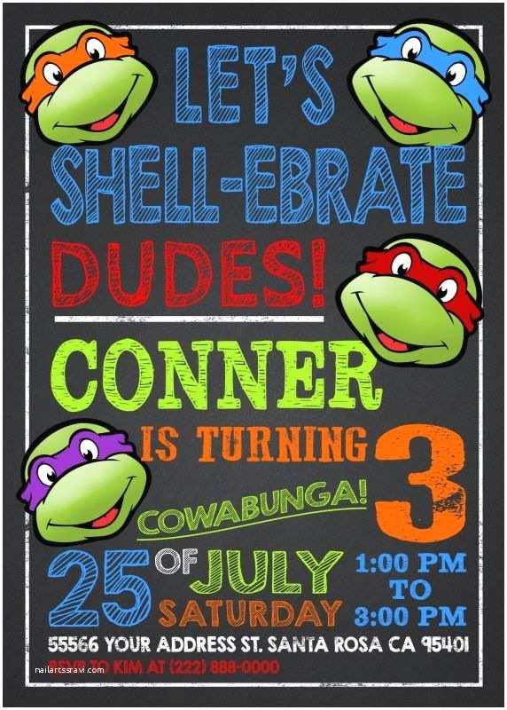 Ninja Turtles Birthday Invitations Party Invitation Templates Ninja Turtle Party Invitations
