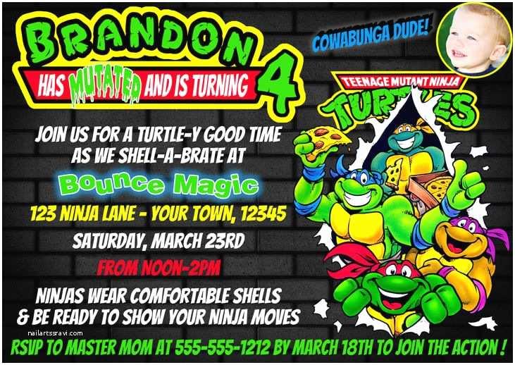 Ninja Turtles Birthday Invitations Printed Ninja Turtles Custom Birthday Invitation 4x6 or