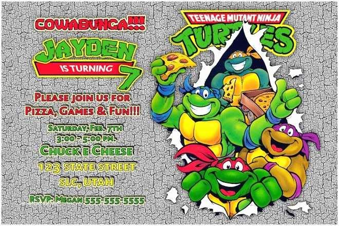 Ninja Turtles Birthday Invitations Teenage Mutant Ninja Turtle Birthday Invitations