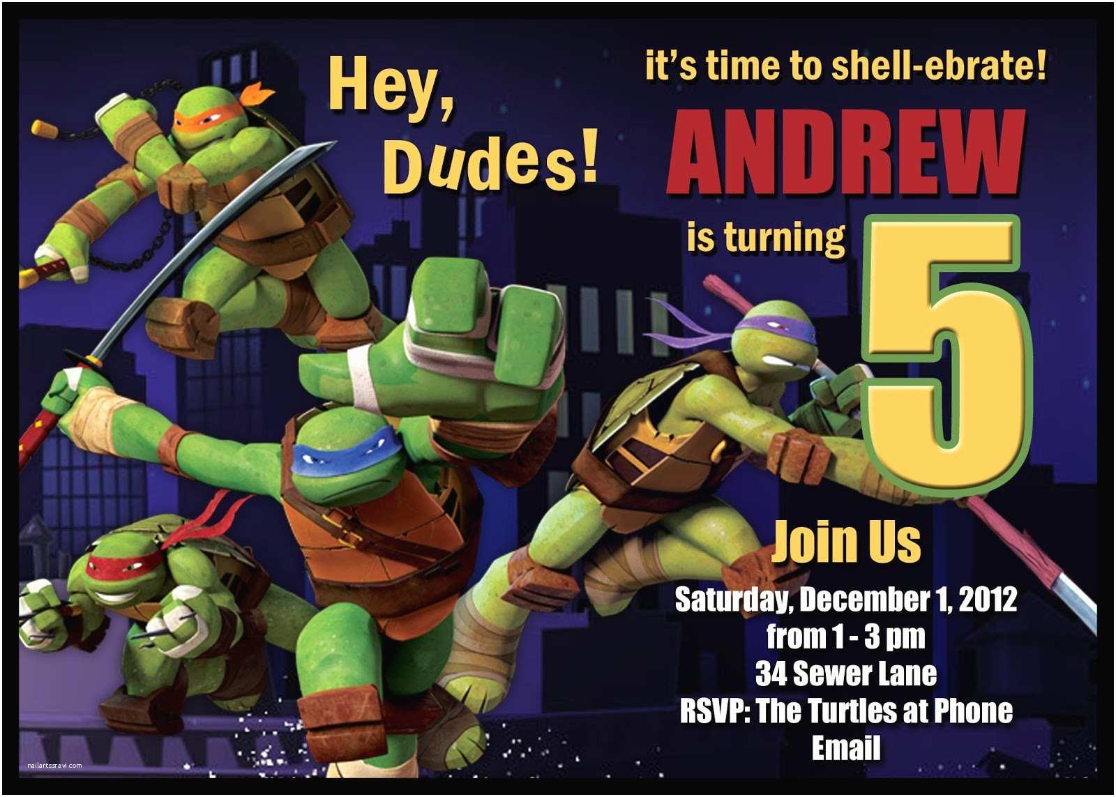 Ninja Turtles Birthday Invitations Teenage Mutant Ninja Turtles Birthday Invitation