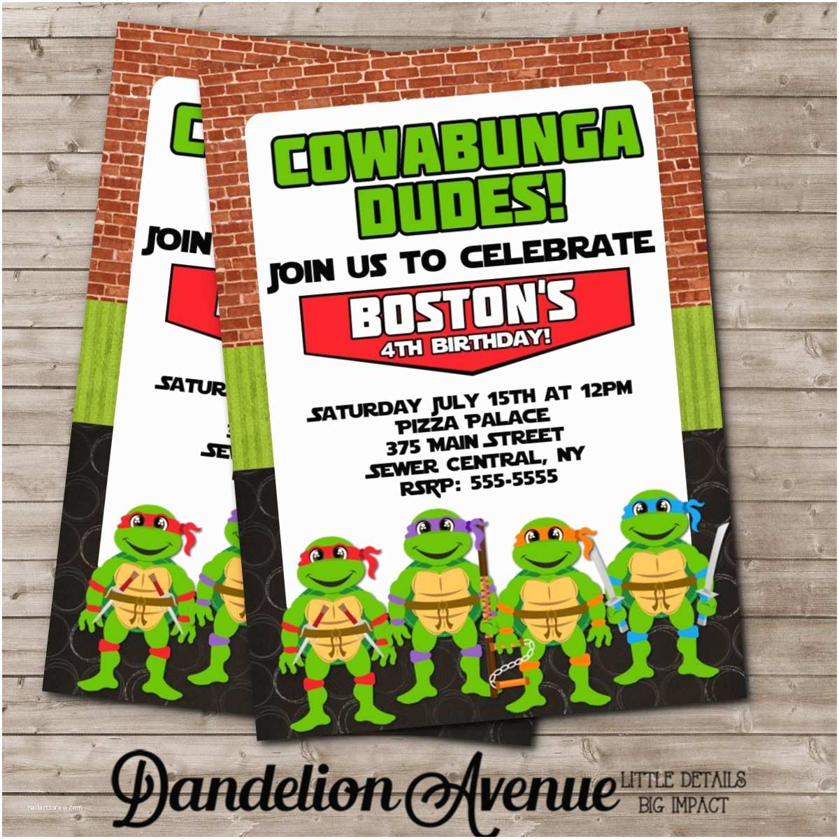 turtle ninja birthday party invitation