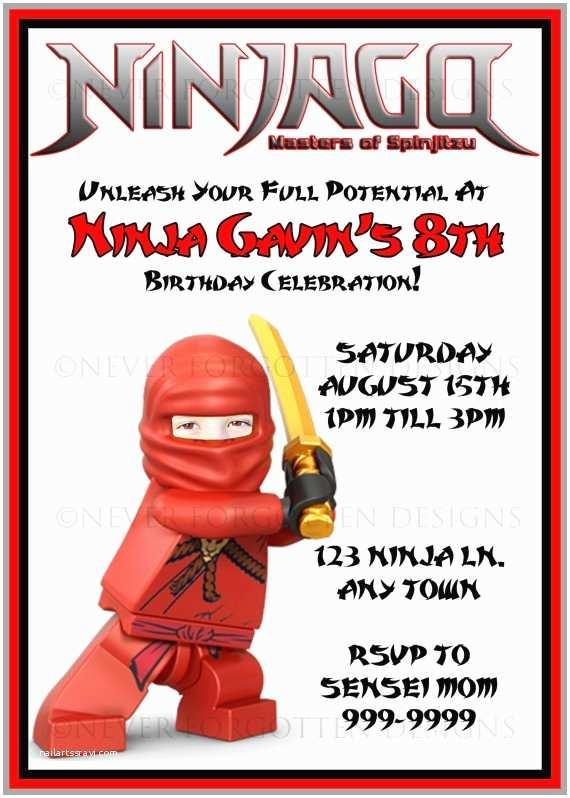 Ninjago Party Invitations Custom Kai Ninjago Birthday Party Invitations where