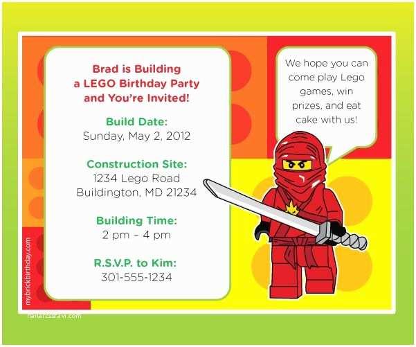 Ninjago Party Invitations Ninjago Evite Lego $10 for Personalized Birthday