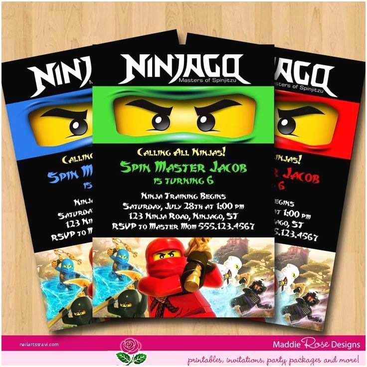 Ninjago Party Invitations Ninjago Invitation Lego Party