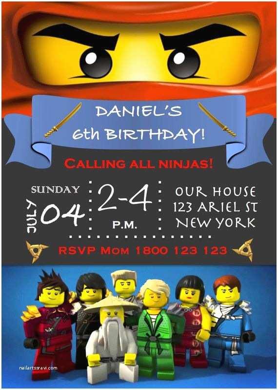 Ninjago Party Invitations Ninjago Lego Birthday Party Invitation Pdf by