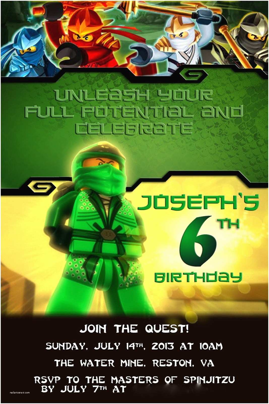 Ninjago Party Invitations Invitation