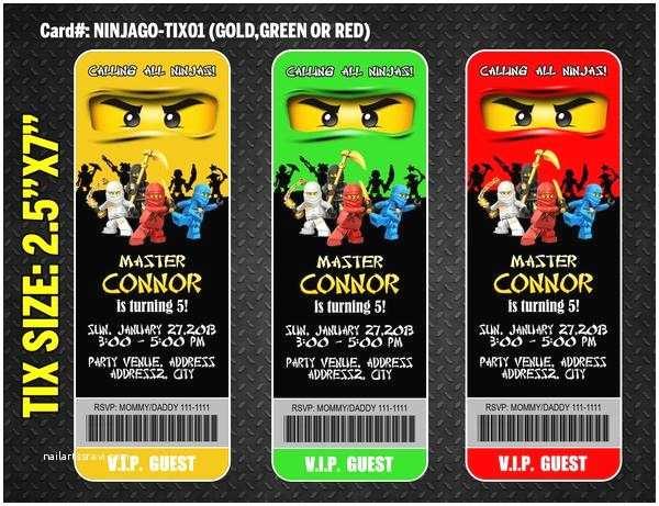 Ninjago Party Invitations Ninjago Ticket Invitation for Ninja Birthday Party