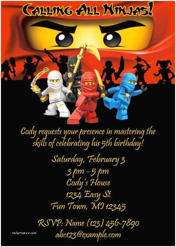 Ninjago Party Invitations Printable Ninjago Birthday Invitation by Thisandthatrb On