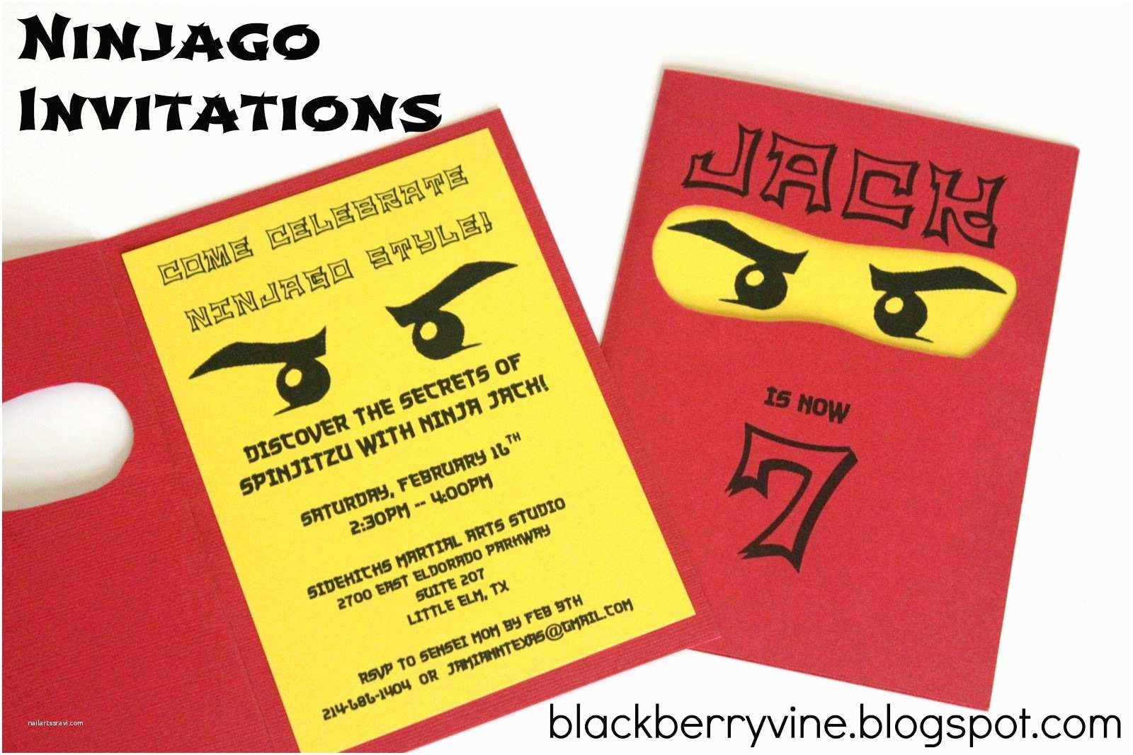Ninjago Party Invitations the Blackberry Vine Lego Ninjago Party Invitation
