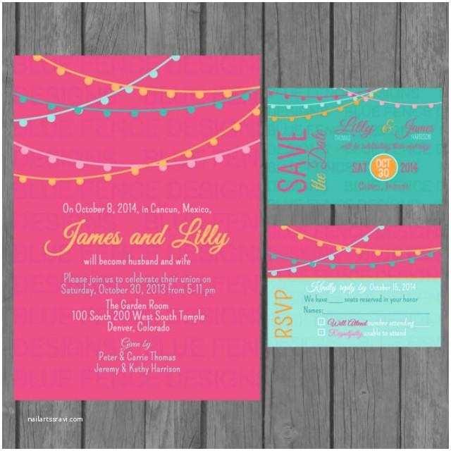Non Traditional Wedding Invitations Simple Wedding Invitation Suite Modern Colorful Wedding