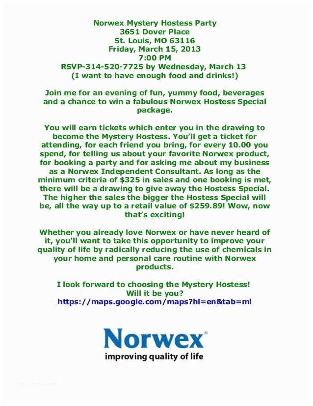 Norwex Party Invitation norwex Mystery Hostess Party
