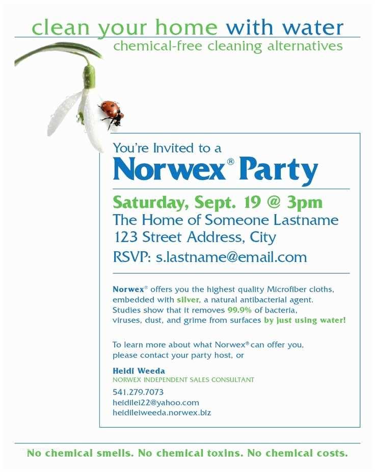 Norwex Party Invitation norwex Party Invitation