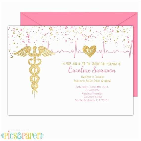 Nurse Graduation Invitations Nursing Graduation Invitation Rn Bsn Lvn Pink and Gold