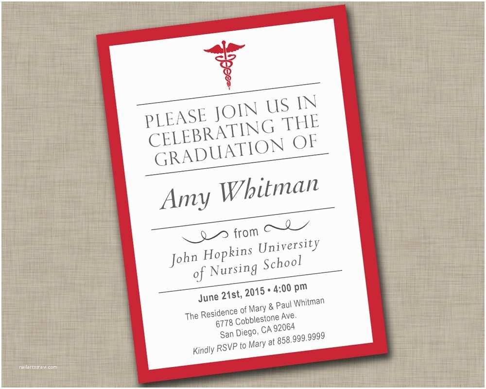 Nurse Graduation Invitations Nursing School Graduation Invitation Medical Graduation