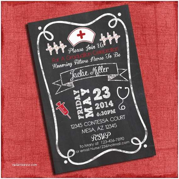 Nursing Graduation Invitations Bbq Graduation Party Invitation Chalkboard Style 4x6 or