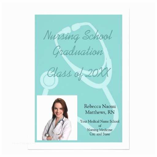 Nursing Graduation Invitations Blue White Nursing School Graduation Announcement