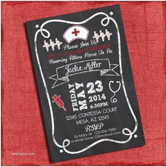 Nursing School Graduation Invitations Bbq Graduation Party Invitation Chalkboard Style 4x6 or