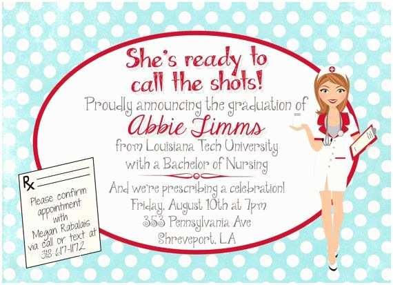 Nursing School Graduation Invitations Customized Nursing Graduation Party Invitation Invite