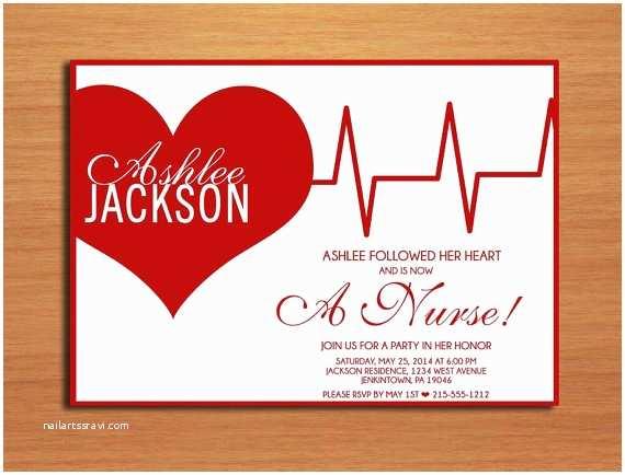Nursing School Graduation Invitations Ekg Heart Nursing Medical Degree Graduation Party Invitation