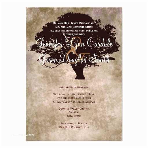 Oak Tree Wedding Invitations Autumn Oak Tree Silhouette Fall Wedding Invitation