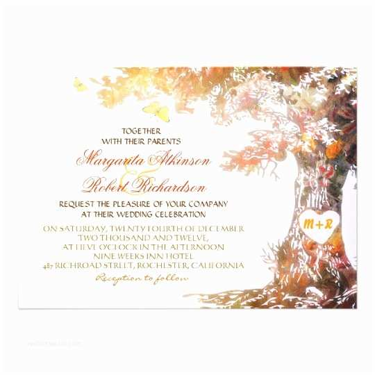 colorful modern oak tree wedding invitations