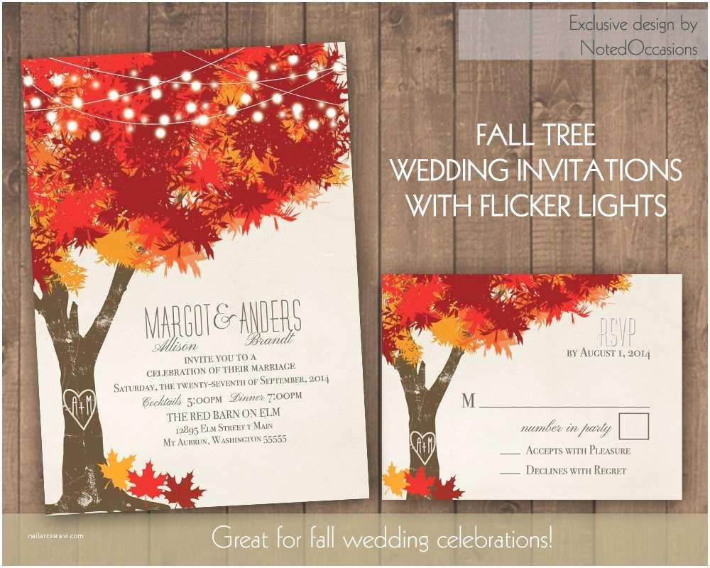 Oak Tree Wedding Invitations Fall Wedding Invitations Autumn Oak Tree Wedding with Rustic
