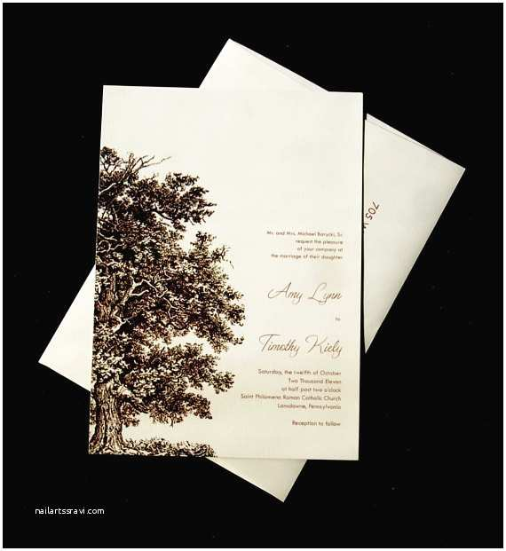 Oak Tree Wedding Invitations Oak Tree Wedding Invitation Set Wood Embossed Paper