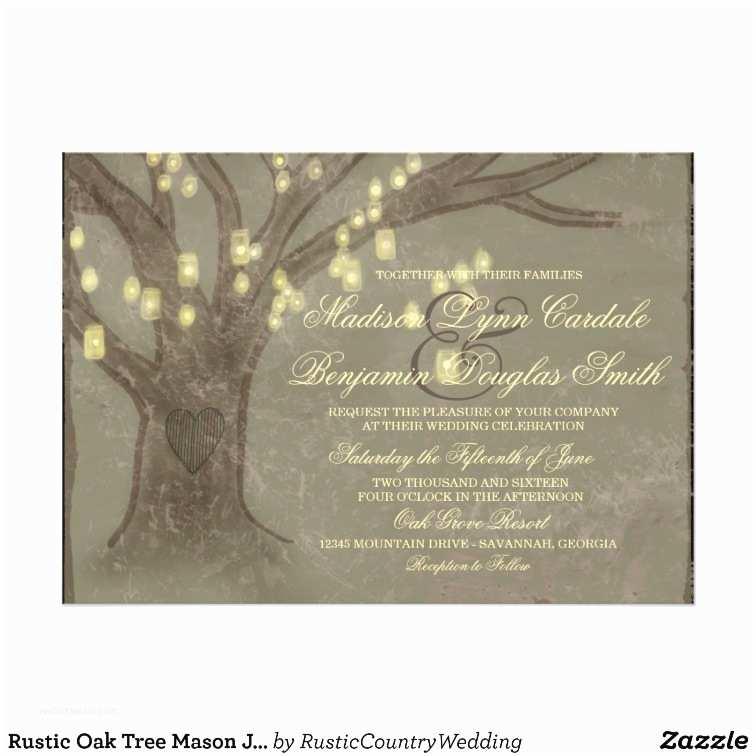 Oak Tree Wedding Invitations Rustic Oak Tree Mason Jar Lights Wedding Invites