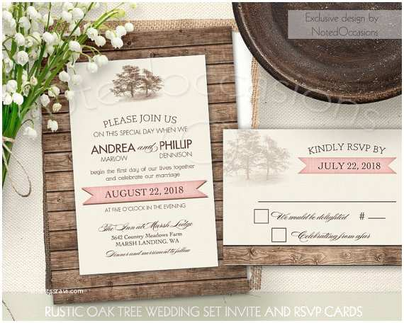 Oak Tree Wedding Invitations Rustic Wedding Invitations Oak Tree Wedding by Notedoccasions