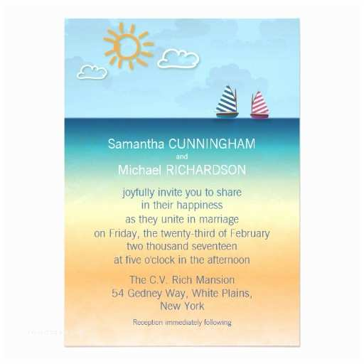 "Ocean themed Wedding Invitations 5"" X 7"" Ocean Sand Beach theme Wedding Invitation"