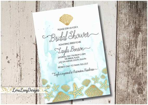 Ocean themed Wedding Invitations Beach themed Bridal Shower Invitation Ocean themed
