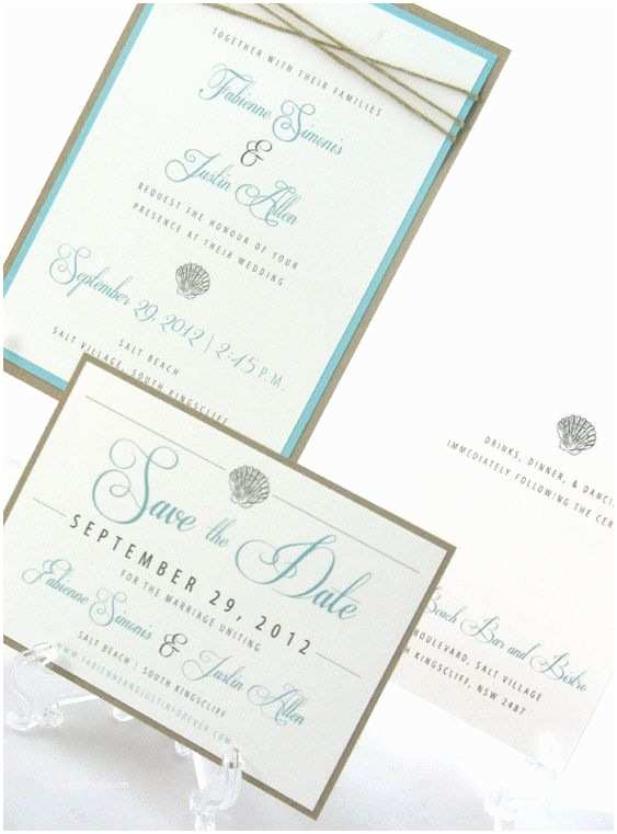 Ocean Wedding Invitations Beach Wedding Save the Date Seashells & Ocean $2 50