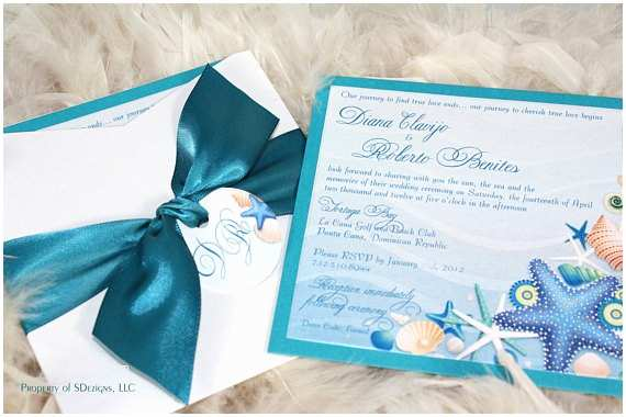 Ocean Wedding Invitations Beautiful Sea Shells and Starfish Beach Destination