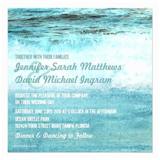 "Ocean Wedding Invitations Blue Ocean Waves Beach Wedding Invitations 5 25"" Square"